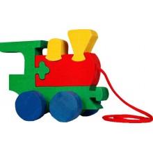 Dřevěné tahací hračky z masivu - Mašinka