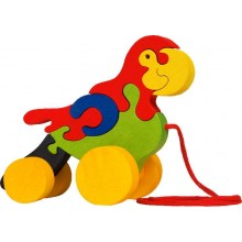 Fauna Dřevěné tahací hračky z masivu papoušek