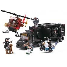 Sluban Policie M38-B0659 SWAT mobilní základna a zloději ve vrtulníku