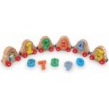 HJ Toys Dřevěný magnetický vláček čísla k vláčkodráze