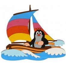 DoDo Velká dřevěná dekorace Krtek na lodi