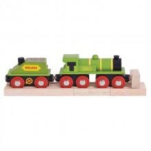 Bigjigs Rail Zelená lokomotiva s tendrem + 3 koleje