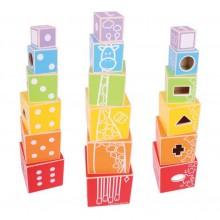 Bigjigs Baby Dřevěná barevná věž s tvary