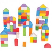 Bigjigs Baby Dřevěné kostky barevný set 100 kusů
