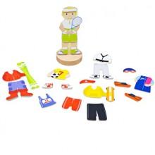 Bigjigs Toys Magnetické oblékací puzzle sportovní aktivity