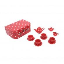 Bigjigs Toys Červený puntikovaný čajový set