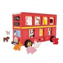 Bigjigs Toys Dřevěný autobus se zvířátky