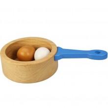Bigjigs Toys Dřevěný hrnec s vajíčky