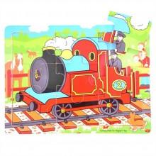 Bigjigs Toys Dřevěné puzzle vlak 9 dílků