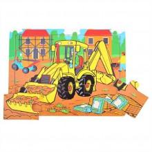 Dřevěné hračky - Puzzle Bagr - 9 dílků