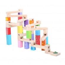 Bigjigs Toys Dřevěná kuličková dráha barevná