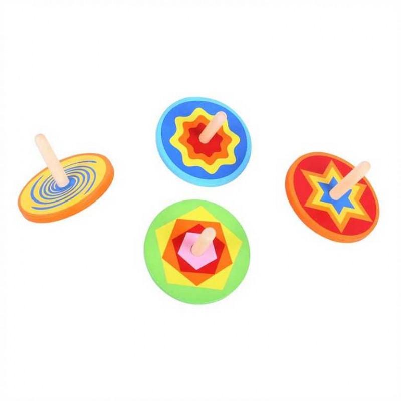 Bigjigs Toys Dřevěná barevná káča 1ks