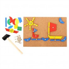 Bigjigs Toys Kreativní deska přibíjení tvarů