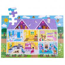 Bigjigs Toys Podlahové puzzle Domeček 48dílků