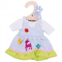 Bigjigs Toys modré puntikované šaty s jelenem pro panenku 25 cm