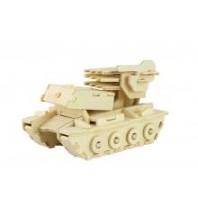 RoboTime Dřevěné 3D puzzle tank s raketama