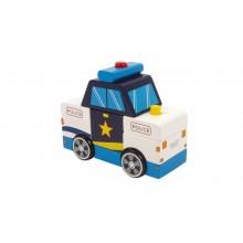 Dřevěné barevné auto - Rozkládací auto policie