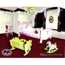 Woodcraft Dřevěné 3D puzzle dětský pokoj barevný