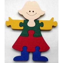 Dřevěné hračky - vkládací puzzle - Holka bez rámečku