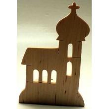 Dřevěné dekorace - Dřevěný svícen - Kostelík bukový