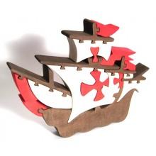 Fauna Dřevěné vkládací puzzle z masivu loď Santa Maria