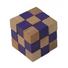 Dřevěný hlavolam kostka fialová