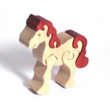 Fauna Dřevěné vkládací puzzle z masivu malý kůň bílý
