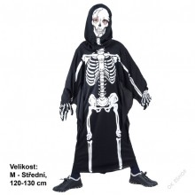 Dětský karnevallový kostým kostlivec KOSTĚJ 120 - 130cm ( 5 - 9 let )