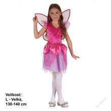 Šaty na karneval - Víla RŮŽELÍNKA 130-140 cm ( 9 - 12let )