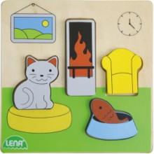 LENA Dřevěné puzzle - obývací pokoj