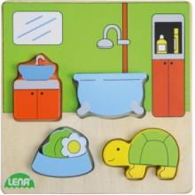 LENA Dřevěné puzzle - koupelna