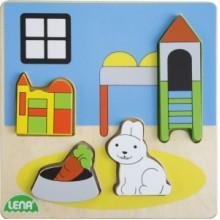 LENA Dřevěné puzzle - dětský pokoj