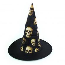 RAPPA Klobouk čarodějnický s lebkami - dospělí