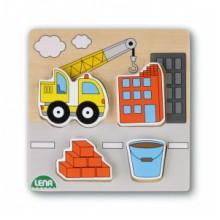 LENA Dřevěné puzzle-jeřáb