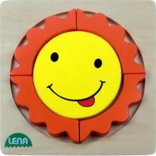 LENA Dřevěné puzzle - sluníčko