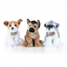 Plyšový pes sedící 3 druhy