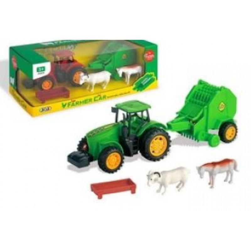 Traktor na setrvačník,se strojem,zvířaty