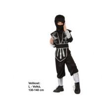 Dětský karnevalový kostým NINJA STŘÍBRNÝ STÍN 130 - 140cm ( 9 - 12 let )