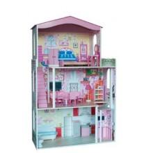 WOODY Třípatrový dřevěný domeček pro panenku Barbie
